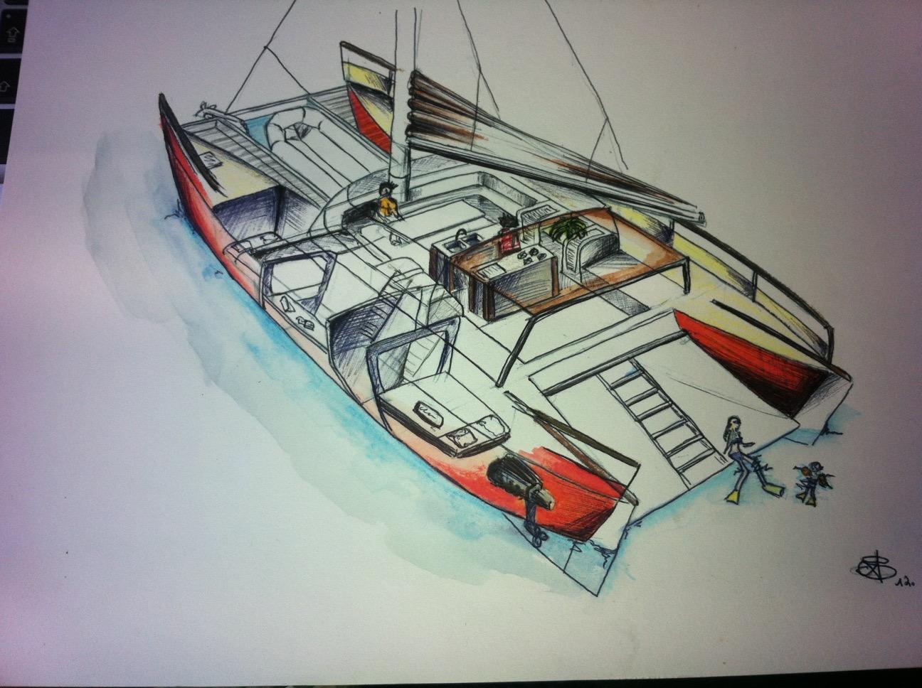 Aquarel du catamaran de Matthieu MARION