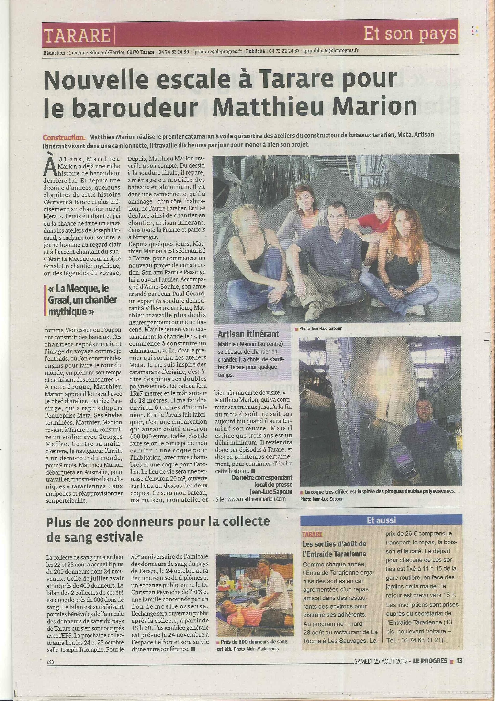Matthieu MARION chaudronnier dans le progres de Tarare